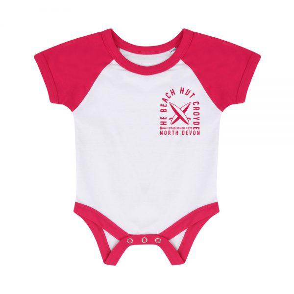 Baby baseball bodysuit pink