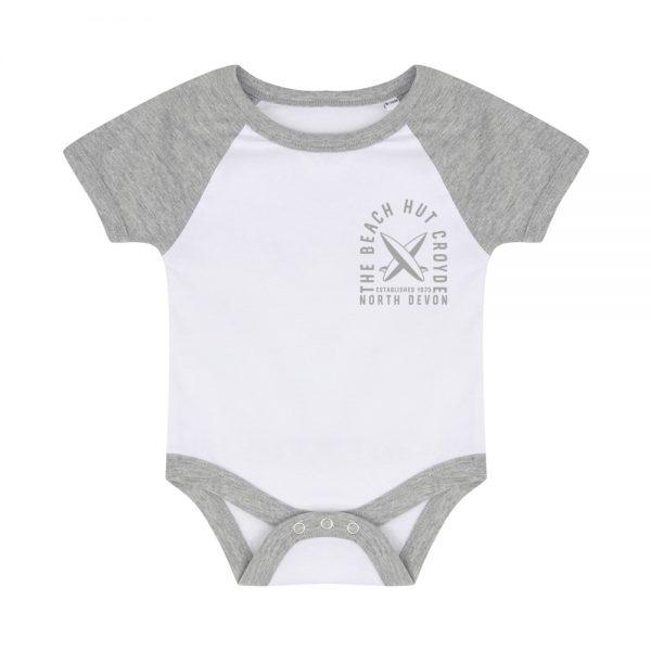 Baby baseball bodysuit grey