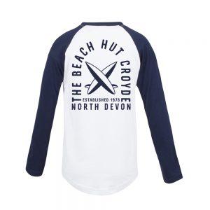 Kids long sleeve baseball raglan t-shirt navy back